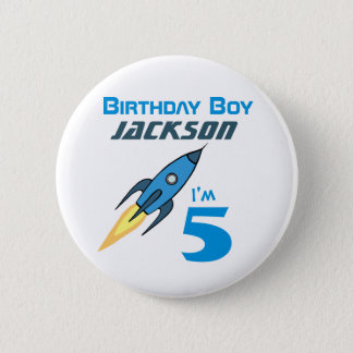 Blue Retro Rocketship Birthday Boy Personalized 6 Cm Round Badge