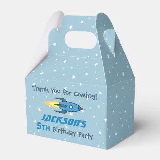 Blue Retro Rocketship Birthday Party Personalized Favour Box