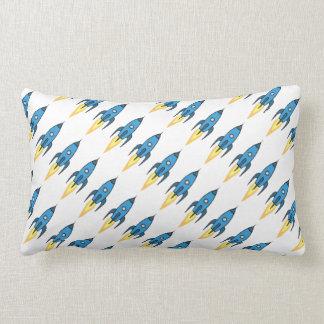 Blue Retro Rocketship Cute Cartoon Design in White Cushions