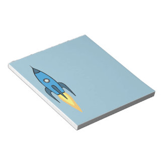 Blue Retro Rocketship Cute Cartoon Design Notepad