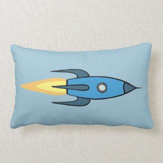 Blue Retro Rocketship Cute Cartoon Design Throw Cushions