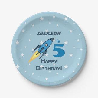 Blue Retro Rocketship Personalized Birthday Boy 7 Inch Paper Plate