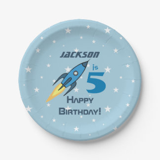 Blue Retro Rocketship Personalized Birthday Boy Paper Plate