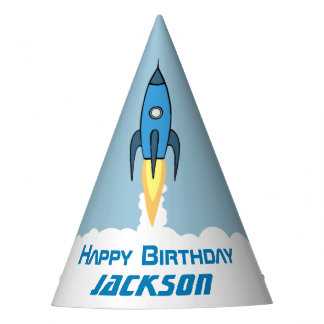 Blue Retro Rocketship Personalized Boy Birthday Party Hat