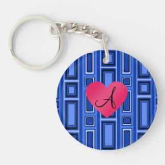Blue Retro squares monogram Key Chain