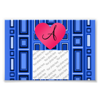 Blue Retro squares monogram Photo Print