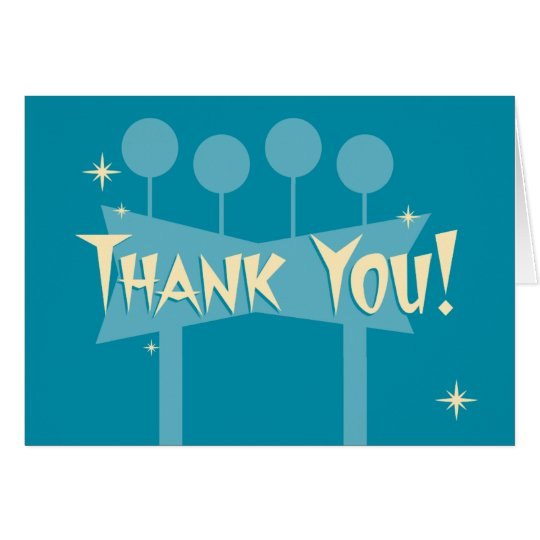 Blue Retro Thank You Notecard: MCM Bowling Sign