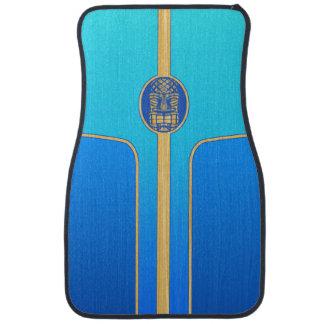 Blue Retro Tiki Surfboard Car Mat