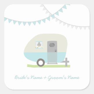 Blue Retro Trailer Wedding Sticker