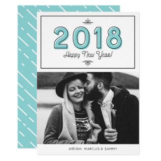 Blue Retro Typography Happy New Year 2018 Photo Card