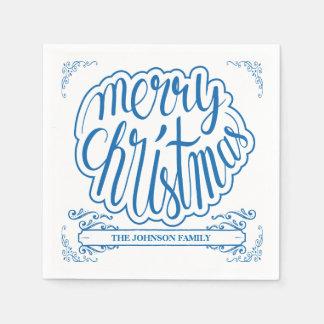 Blue, Retro Typography Holiday Paper Napkins