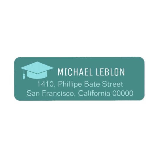 blue return address label with name graduation