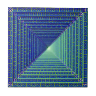 Blue Reverse Pyramid  Tile