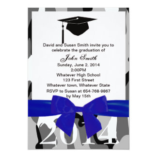 Blue Ribbon And Gray Camo Graduation Invitation