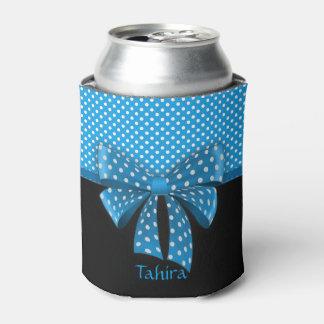 Blue Ribbon and Polka Dots Can Cooler