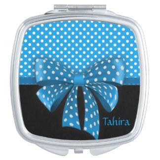 Blue Ribbon and Polka Dots Vanity Mirror