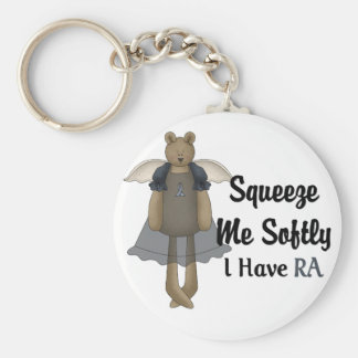 Blue Ribbon Angel Bear :: Squeeze Me Softly. Basic Round Button Key Ring