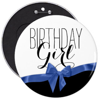 Blue Ribbon Bow Birthday Girl 6 Cm Round Badge