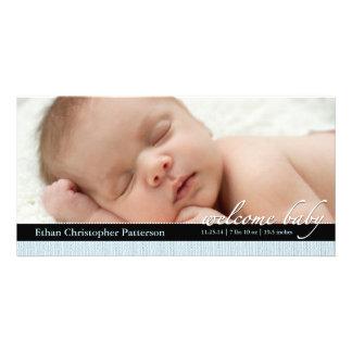 Blue Ribbon Boy Baby Birth Announcement Photocard Photo Card Template