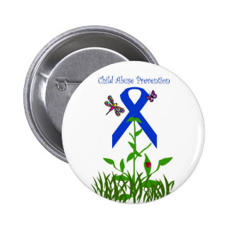 Blue ribbon flower Child Abuse Prevention button