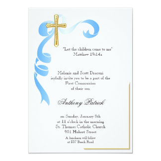 Blue Ribbon Gold Cross Communion 13 Cm X 18 Cm Invitation Card