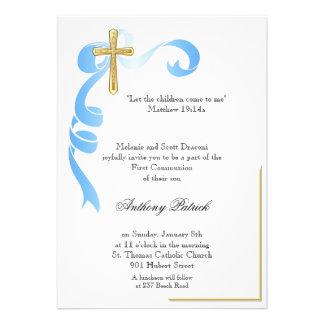 Blue Ribbon Gold Cross Communion Custom Invites