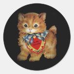 Blue Ribbon Kitten Valentine Round Sticker