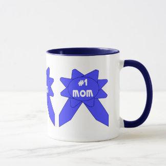 Blue Ribbon Mom x 3 Mug