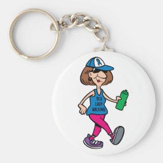 Blue Ribbon Old Lady Walking Keychain