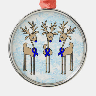 Blue Ribbon Reindeer (Colon Cancer) Silver-Colored Round Decoration