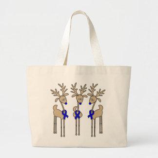 Blue Ribbon Reindeer Jumbo Tote Bag