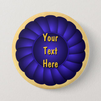 Blue Ribbon Rosette to Personalize 7.5 Cm Round Badge
