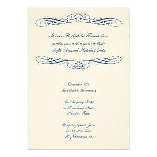 Blue ribbon script corporate formal gala event custom invitation