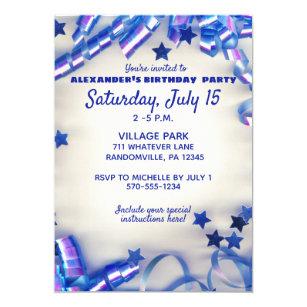 Blue Ribbon Stars Confetti 11th Birthday Party Invitation