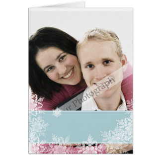 Blue Ribbon with Snowflakes Overlay Card