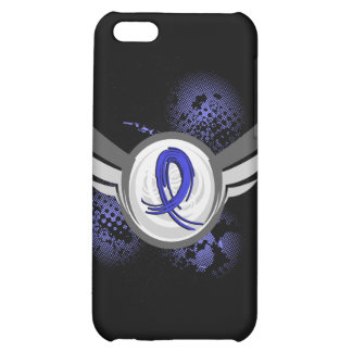 Blue Ribbon With Wings Rectal Cancer iPhone 5C Cases