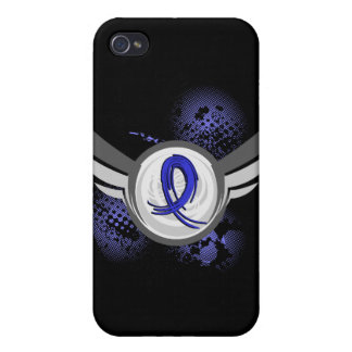 Blue Ribbon With Wings Rectal Cancer iPhone 4/4S Case