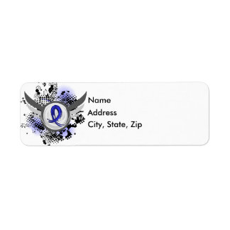 Blue Ribbon With Wings Rectal Cancer Return Address Label