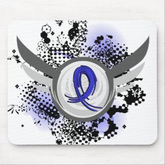 Blue Ribbon With Wings Syringomyelia Mouse Pad