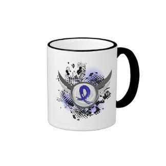 Blue Ribbon With Wings Syringomyelia Ringer Coffee Mug