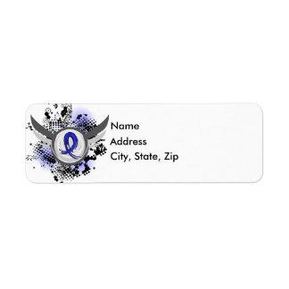Blue Ribbon With Wings Syringomyelia Return Address Label