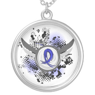 Blue Ribbon With Wings Syringomyelia Round Pendant Necklace