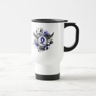 Blue Ribbon With Wings Syringomyelia Stainless Steel Travel Mug