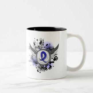 Blue Ribbon With Wings Syringomyelia Two-Tone Mug