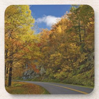 Blue Ridge Parkway curving through autumn colors Drink Coasters