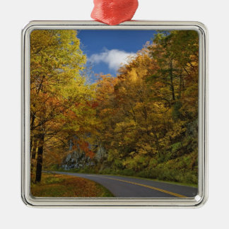 Blue Ridge Parkway curving through autumn colors Silver-Colored Square Decoration