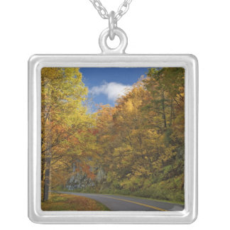 Blue Ridge Parkway curving through autumn colors Silver Plated Necklace
