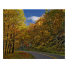 Blue Ridge Parkway curving through autumn colours Poster