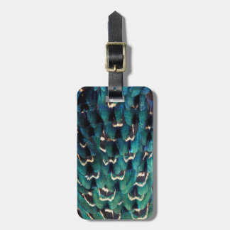 Blue Ring-necked Pheasant feather Bag Tag