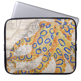 Blue Ring Octopus Map Laptop Sleeve